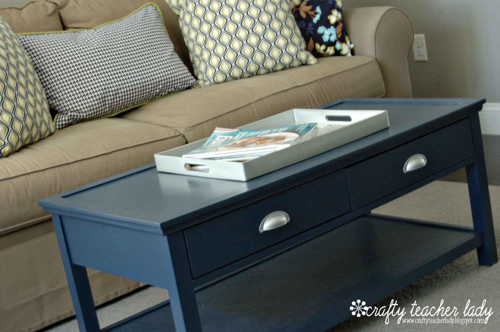 Crafty teacher lady coffee table makeover navy blue coffee table makeover geotapseo Choice Image