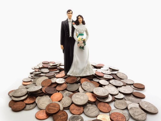 Bride and Groom Figurines Standing on pile of coins