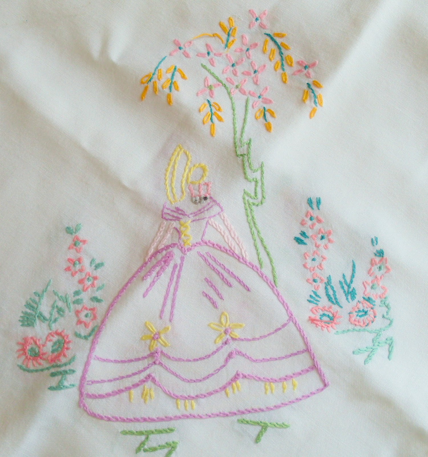 Table cover embroidery designs - Gillyflower Friday Flea Market Finds Then A Gorgeous Crinoline Lady Tablecloth With 4 Crinoline Ladies One