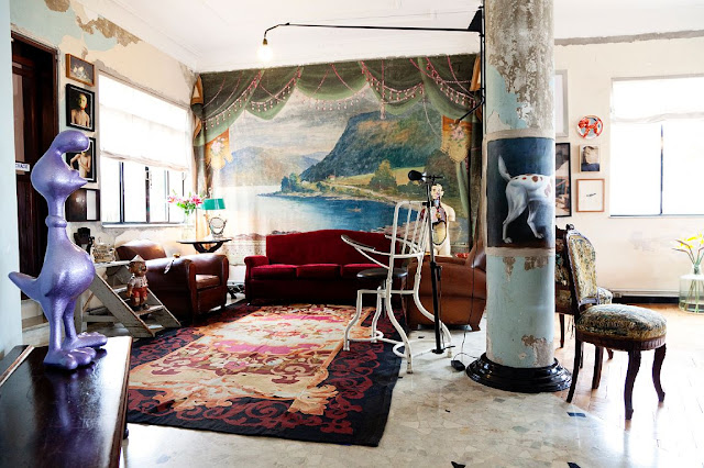 vista de salon de casa de diseñador de moda