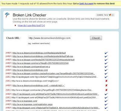 Relatórios de Links Quebrados - Broken Link Checker