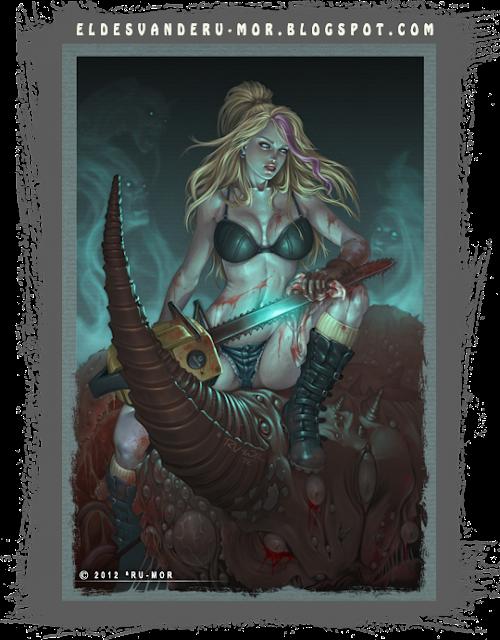 Ilustración de Nancy, animadora que va a los infiernos tras morir y tiene que luchar contra los demonios -  Illustration Nancy in Hell on Earth #3 by RU-MOR