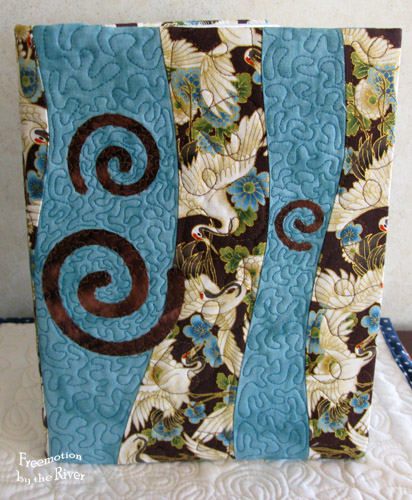 Quilted Notebook cover with applique @Freemotion by the River