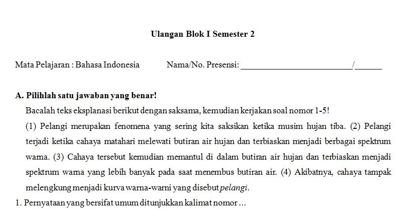 Contoh Soal Ujian Bahasa Indonesia