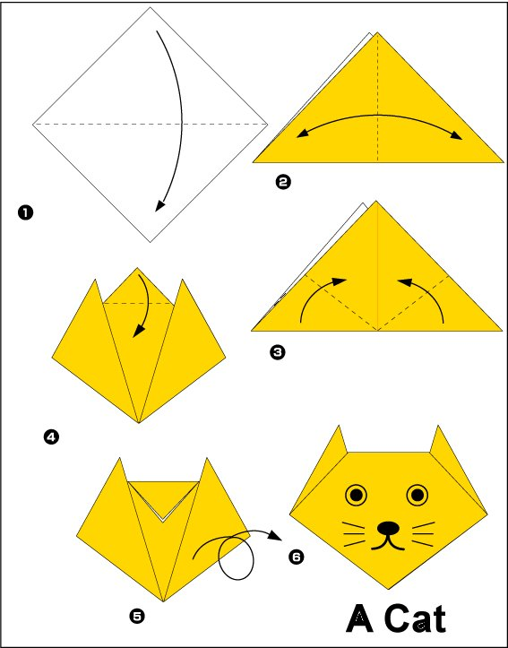 Easy Origami Cat Instructions