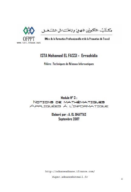 Module 03. Notions de mathématiques appliquées à l' informatique [PDF]