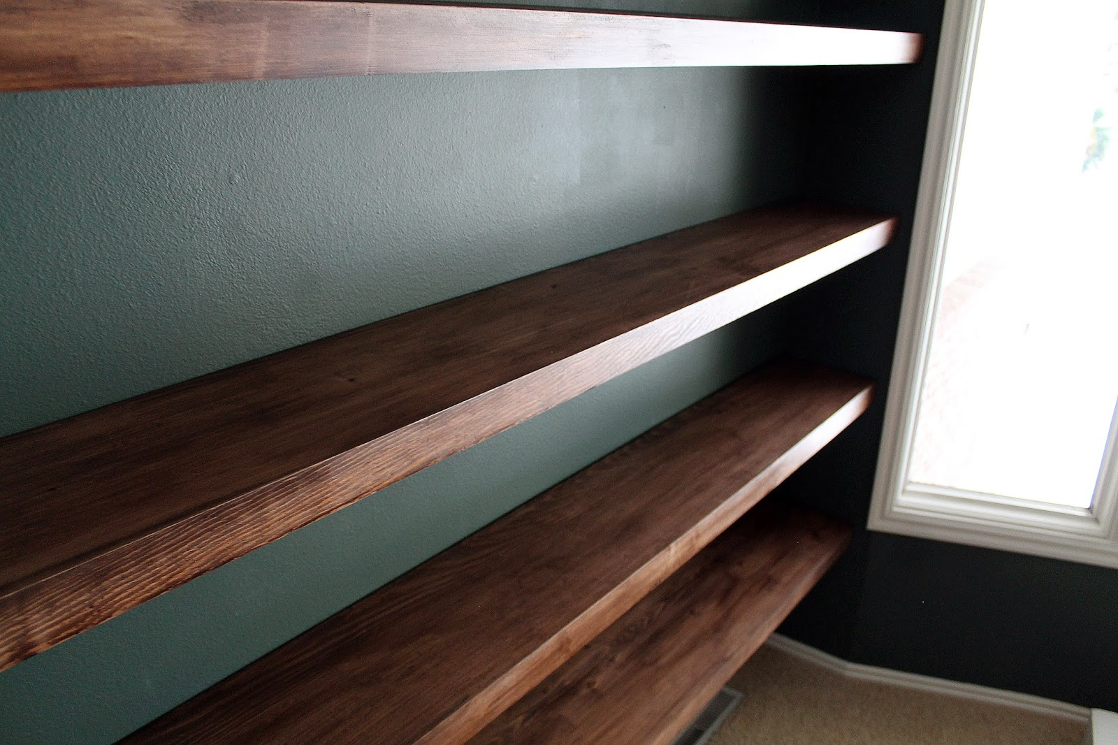 diy solid wood wall to wall shelves chris loves julia rh chrislovesjulia com Oak Shelves Hollow Core Door Shelves