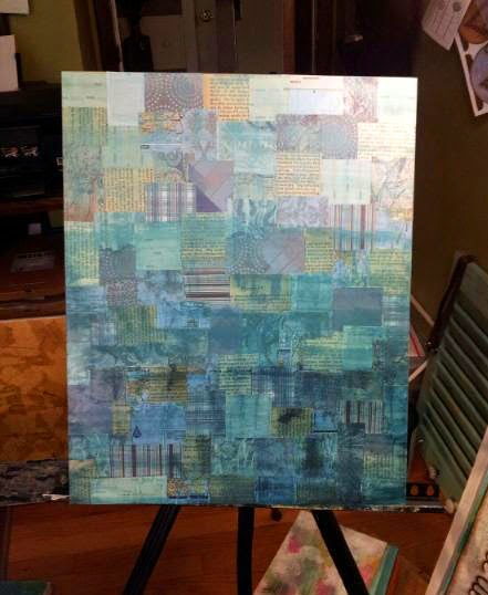 Mixed Media Painted Background in progress by Sue Allemand Art