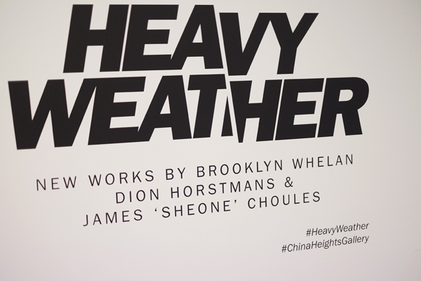 Gallery Title wall, Heavy Weather, China Heights Gallery.