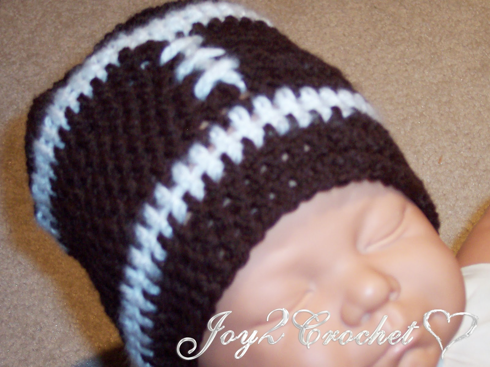 Crochet Pattern Baby Hat Free : Joy 2 Crochet: Baby Football Hat