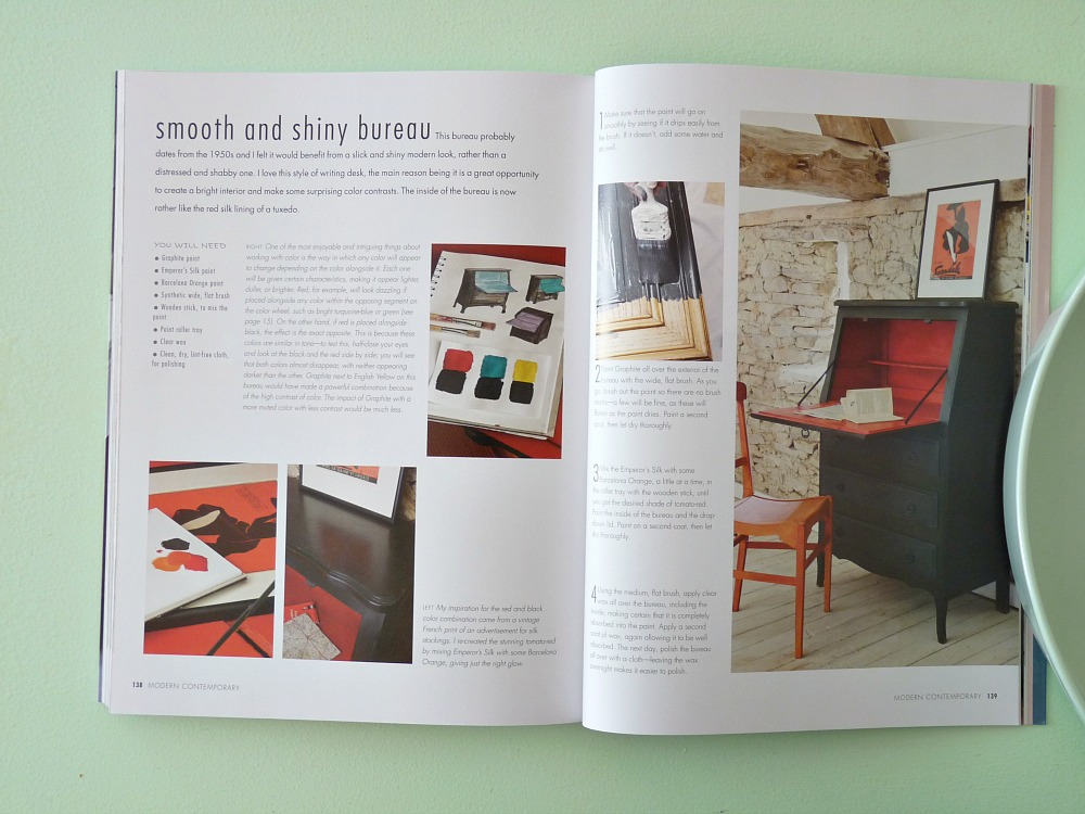 Shiny black bureau with chalk paint