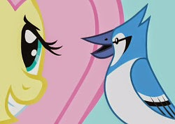 Fluttershy and Mazarine look at each other