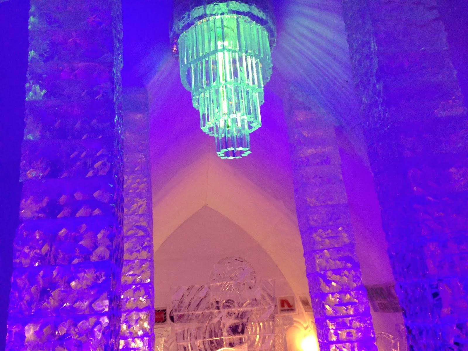 Hotel De Glace ice chandelier in the main lobby