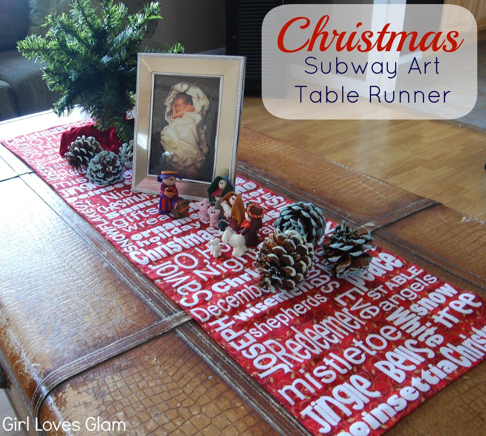 christmas subway art table runner girl loves glam. Black Bedroom Furniture Sets. Home Design Ideas