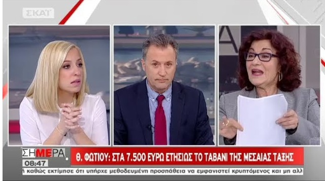 Θεανώ Φωτίου: «Μεσαία τάξη όσοι έχουν εισοδήματα 7.500 ευρώ τον χρόνο»