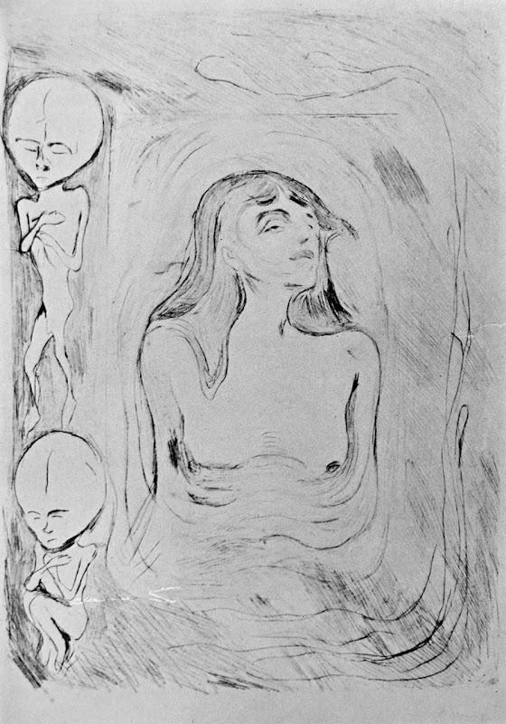 Edvard Munch skitse-tegning til 'Madonna'