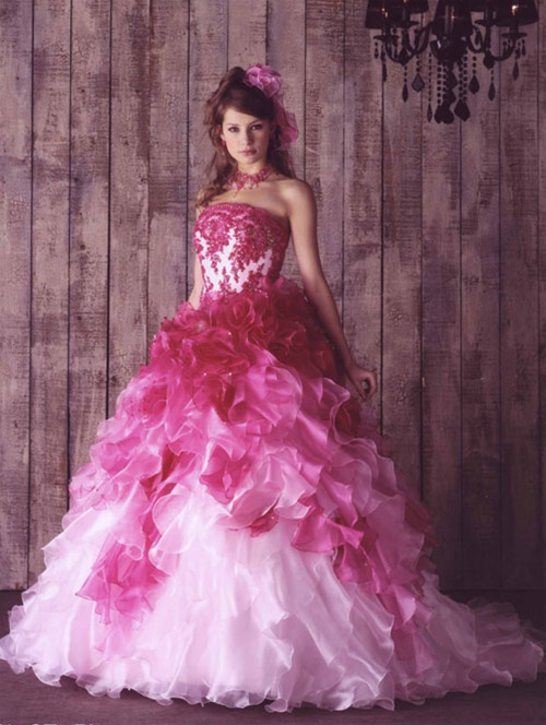 I heart wedding dress hot pink wedding dress for Pink ombre wedding dress
