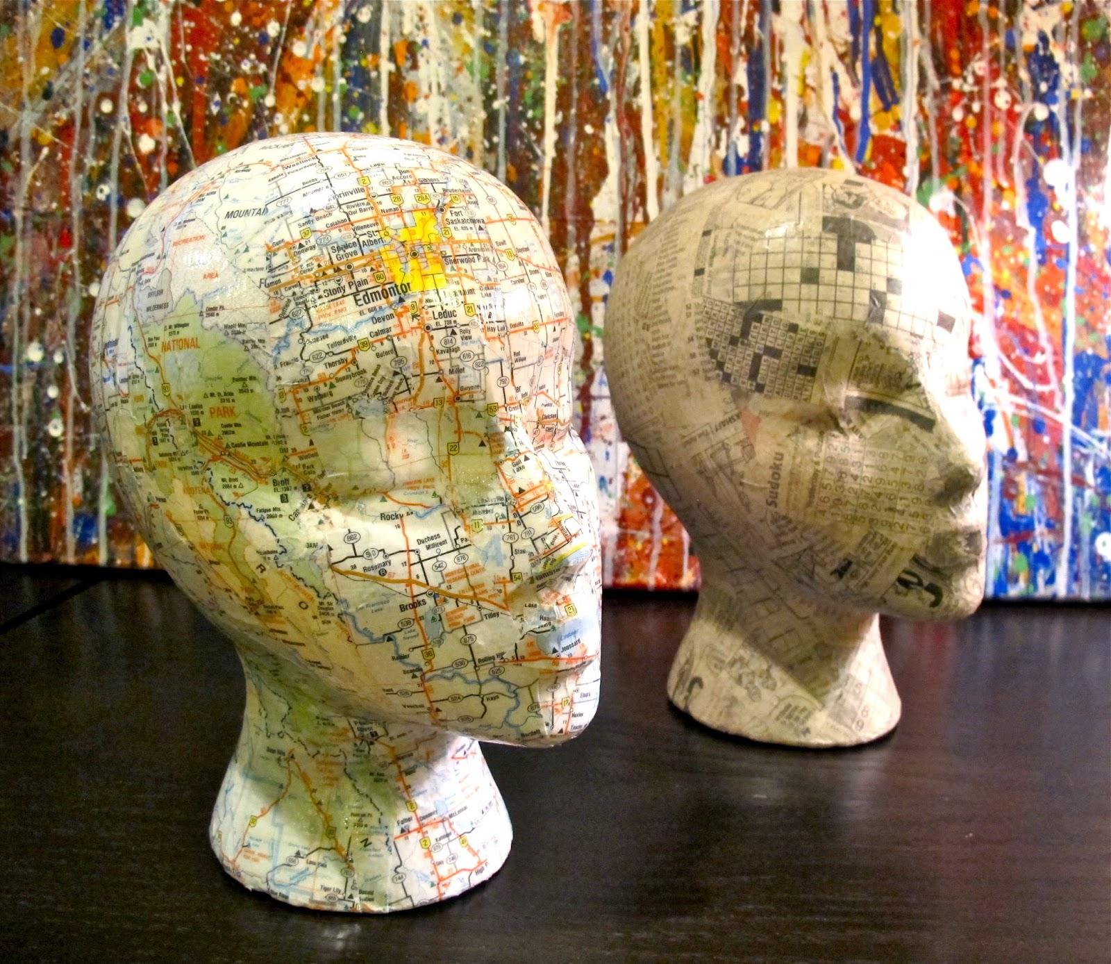 decoupage mannequin heads