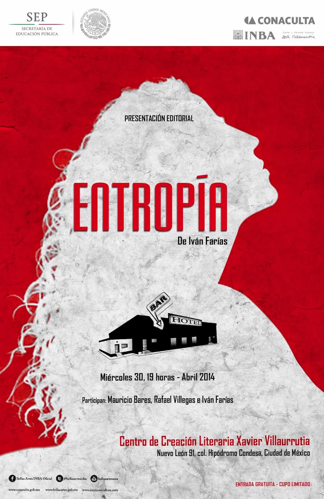 """Presentan el libro """"Entropía"""" de Iván Farías en el CCLXV"""