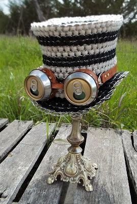 Steam Punk Hat created with soda pop tab art by Tabistry