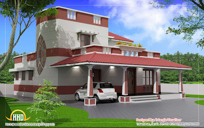 Traditional blend modern house elevation 3D render - 186 Sq M (2000 Sq. Ft) - February 2012