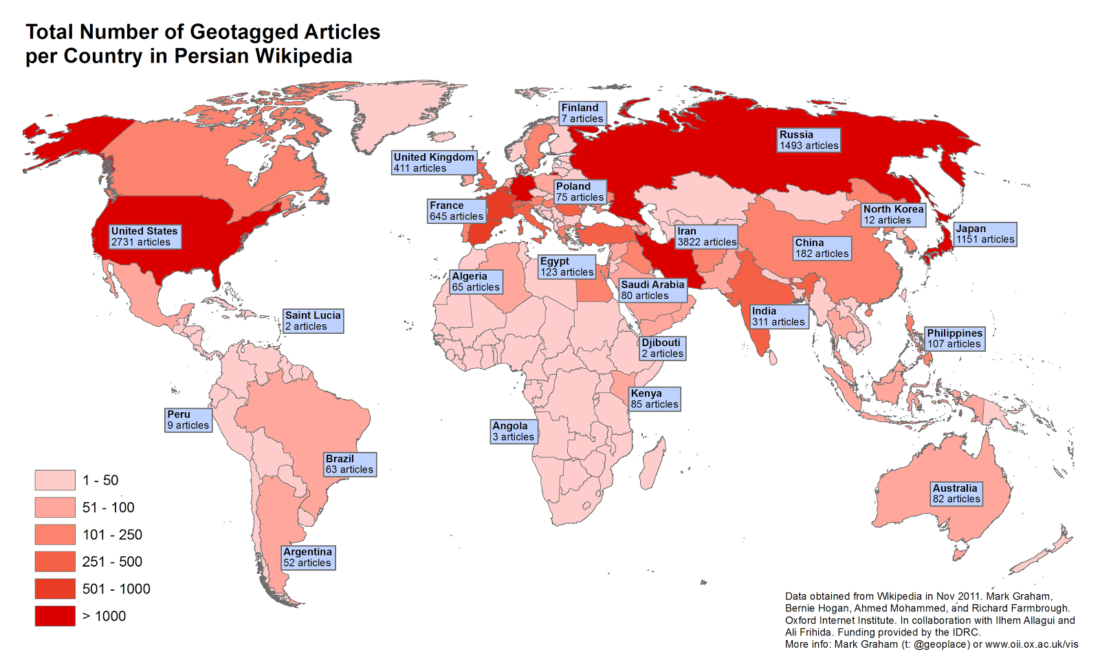 Mapping Wikipedia At The Global Scale In Arabic English French