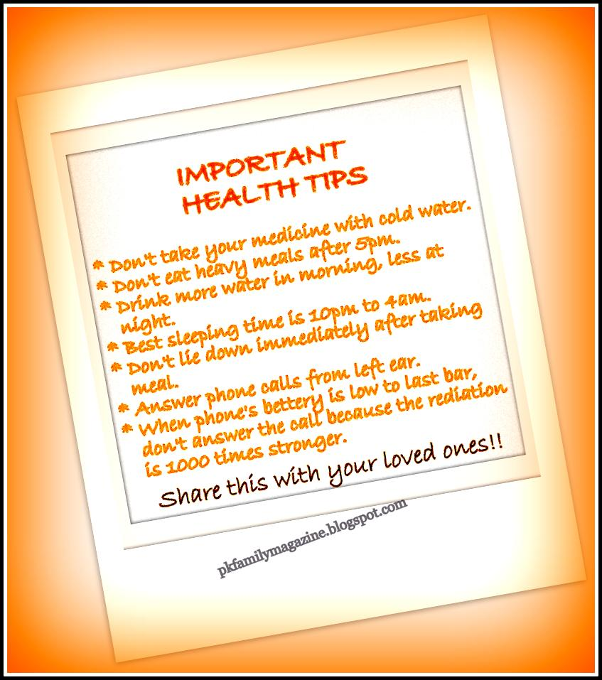 Importance And Tips: Pkfamilymagazine: Some Important Health Tips