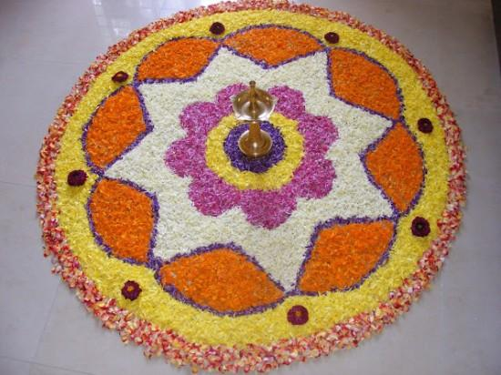 onam festival telugu abhiruchulu pookkalam floral carpet is laid in the front courtyard of every household from this day onwards pookkalam is laid for the following nine days of onam