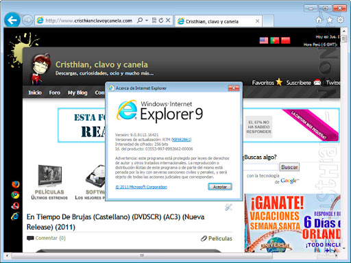 Internet Explorer v9.0.8112.16421 FINAL (Espa�ol) (32 bits & 64 bits)