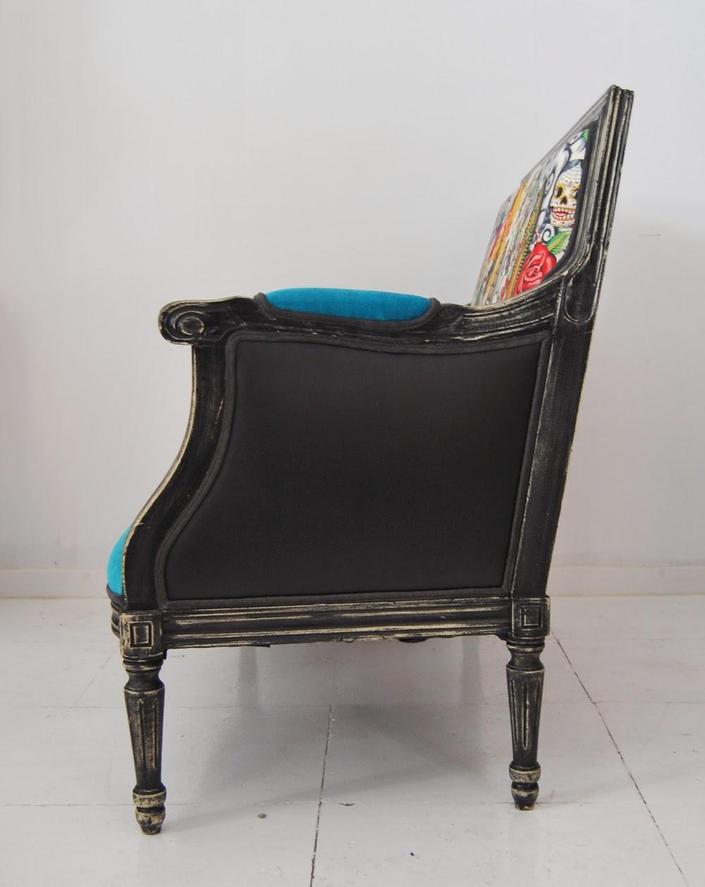 La tapicera sof estilo luis xvi tapizado con tela mexicana - Tela tapizado sofa ...