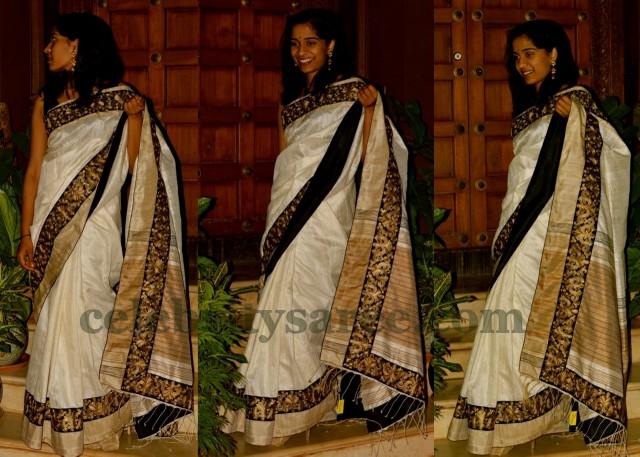 White Bailu Silk Saree