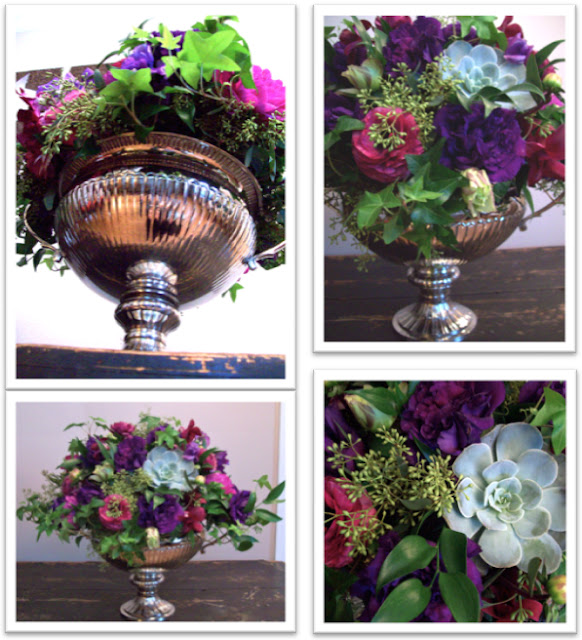 michigan wedding florist, centerpiece, secret garden, english garden, silver urn vase, silver pedestal vase, elegant guest table arrangement, sweet pea floral design, holly rutt, purple, succulent, lisianthus, ranunculus, sweet pea, bride, country club