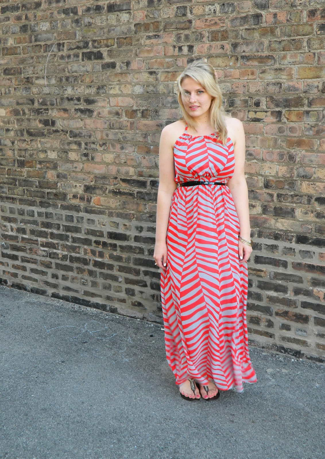 red chevron maxi dress