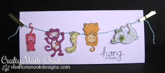 Clothesline of animals card by Crafty Math-Chick for Newton's Nook Designs | Hanging Around Stamp Set