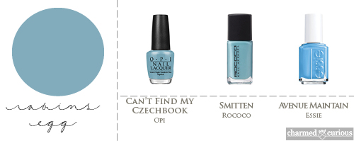 OPI Can't Find My Czechbook, Rococo Smitten, Essie Avenue maintain