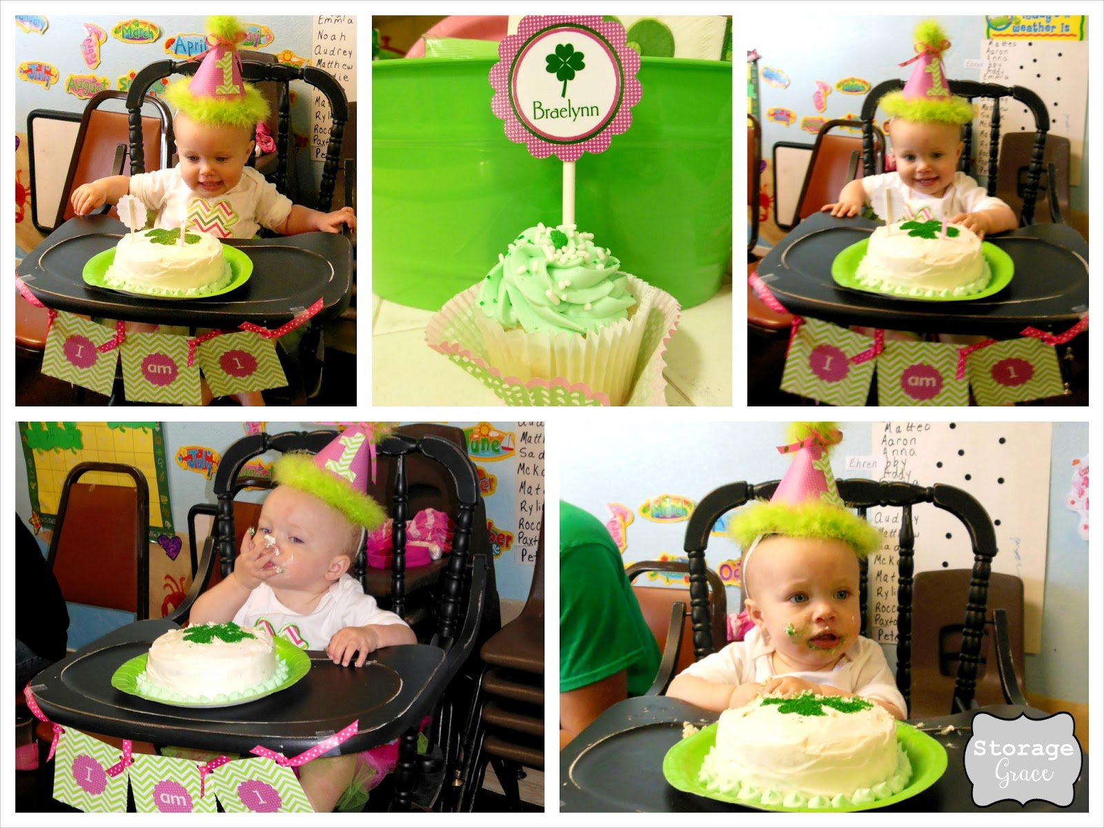 love 1st birthday cake eating photos! She was so excited when we put ...