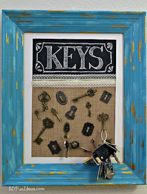 DIY Framed Key Holder, shared by DIY Fun Ideas