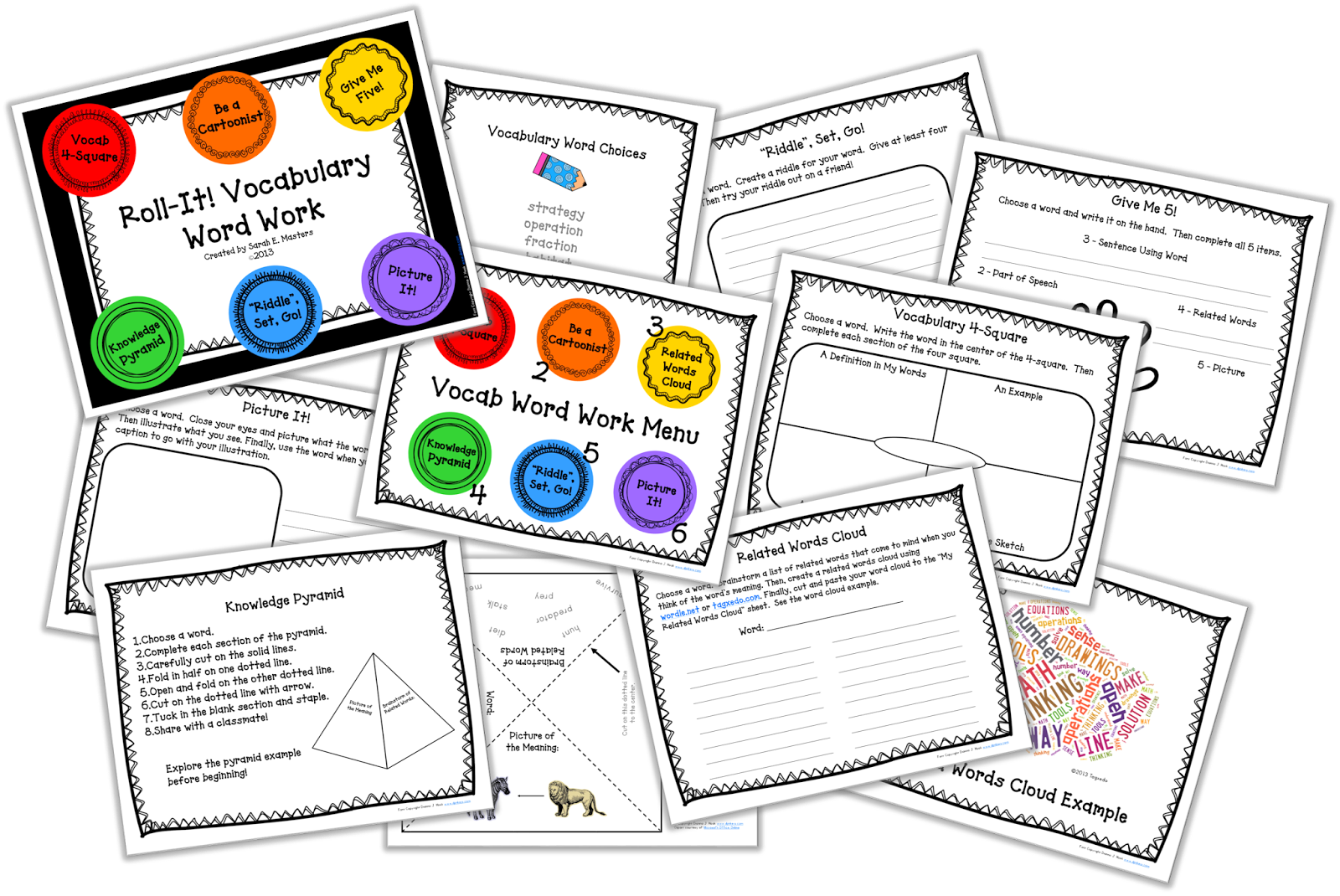 http://www.teacherspayteachers.com/Product/Roll-It-Vocabulary-Word-Work-Center-or-Workstation-639971