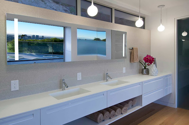 Picture of white sinks in the modern bathroom