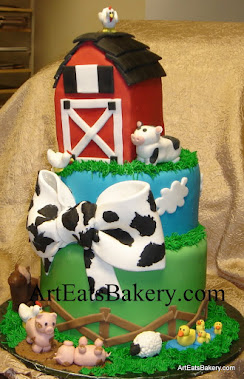 Two tier farm animals custom unique baby shower cake with barn, pigs, horse, ducks, sheep, cow and