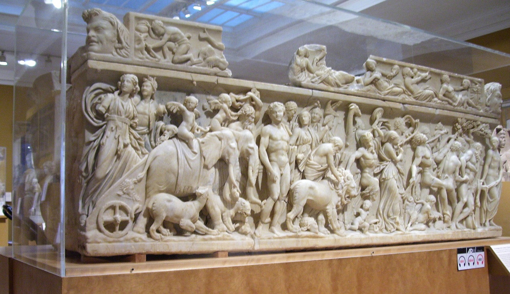 sarcophagus with the triumph of dionysis The triumph of dionysus, depicted on a 2nd-century roman sarcophagus dionysus rides in a chariot drawn by panthers his procession includes elephants and.