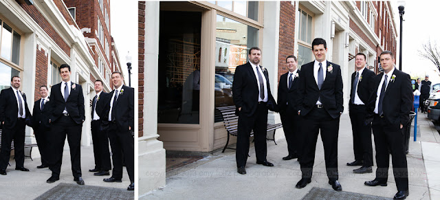 groom and groomsmen in downtown Indianapolis