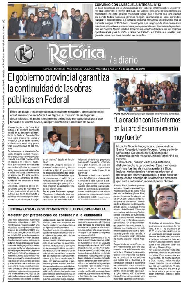 RETÓRICA EDICIÓN IMPRESA DEL 16-8-2019