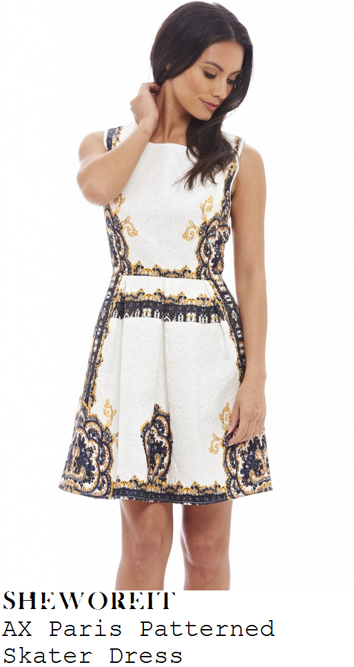 lucy-mecklenburgh-cream-navy-gold-baroque-sleeveless-skater-dress