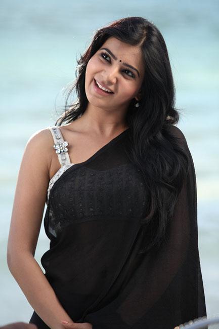 etnic and decorative Sexy samantha black transparent saree