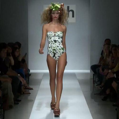 Parah 2012 nyári divat - fehér zöld árnyalatos mintájú pánt nélküli egyberészes fürdőruha