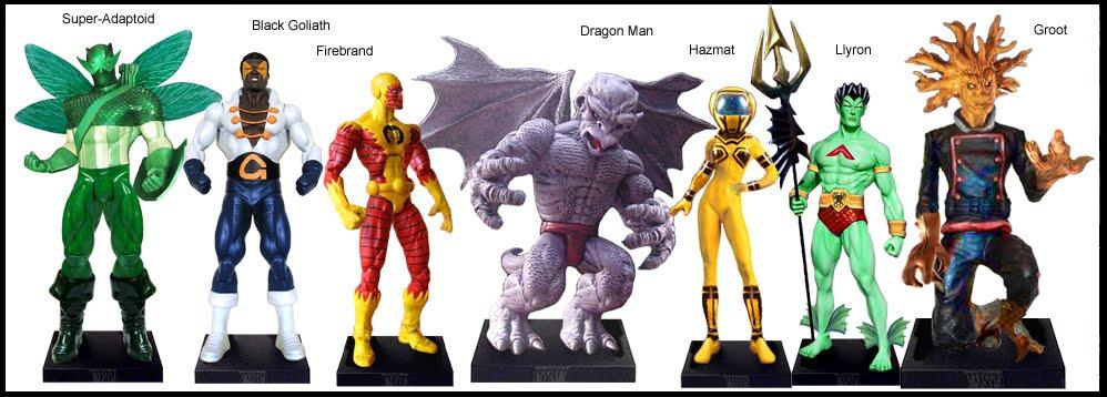 <b>Wave 49</b>: Super Adaptoid, Black Goliath, Firebrand, Dragonman, Hazmat, Llyron and Groot
