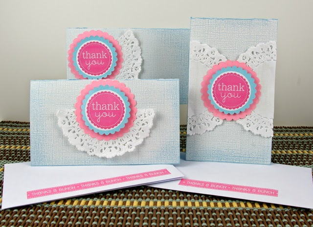 SRM Stickers Blog - Thank You Card Sets by Michelle  - #thankyou #stickers #doilies #punchedpieces #borders #take2 #cards