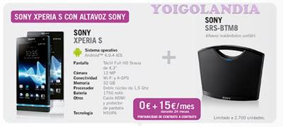 Altavoces Sony gratis al comprar Sony Xperia S con Yoigo en febrero 2013