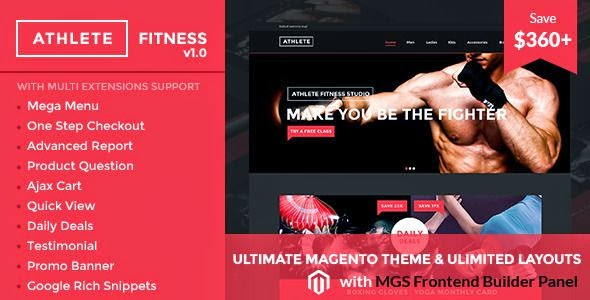 Athlete Fitness Magento theme
